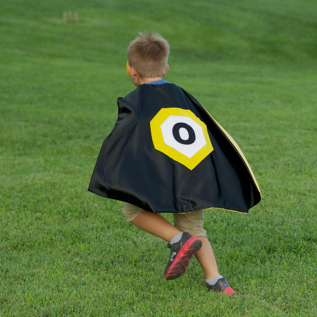 Kid's Initial Cape - Black - Creative Capes