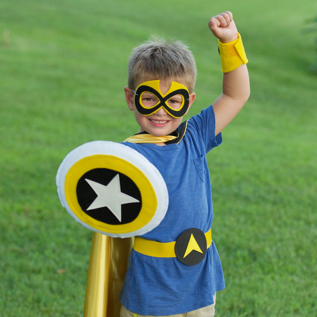Kids Superhero Shield - Black/Yellow/White - Creative Capes
