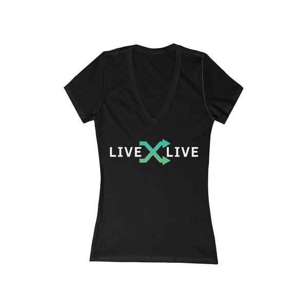 LIVExLIVE Women's Jersey Short Sleeve Deep V-Neck Tee
