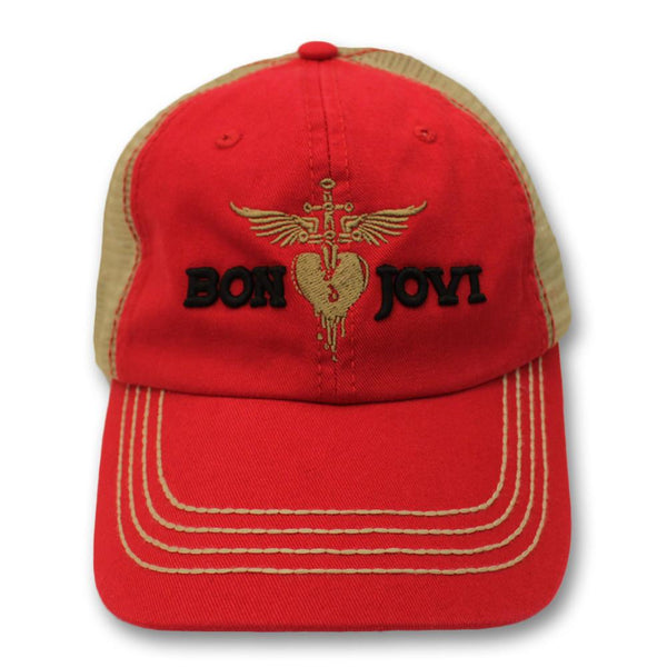 Official Bon Jovi Red & Gold Embroidered Trucker Hat