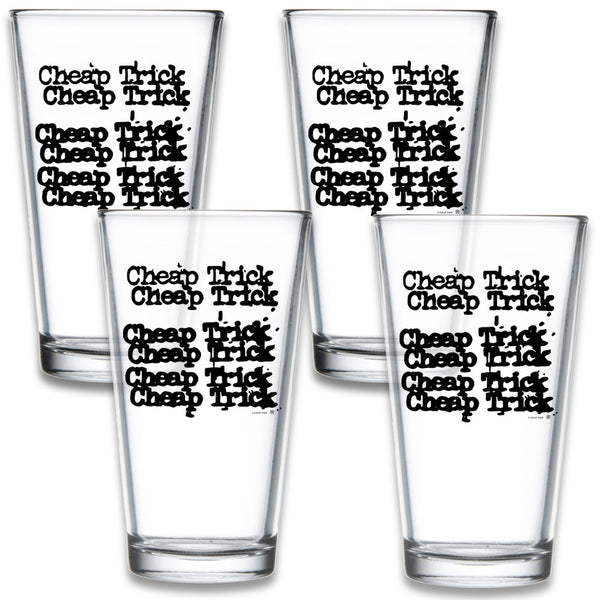 Official Cheap Trick 4 Pack Logo Pint Glass Set
