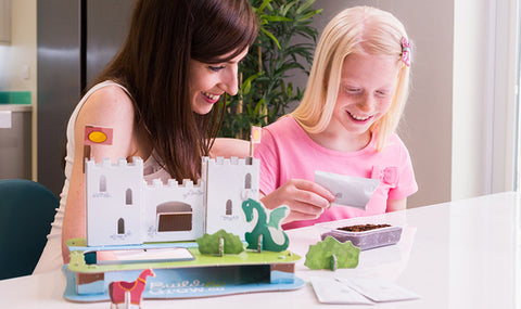 Girl and mother making 3D Puzzle Garden - Peach Perfect
