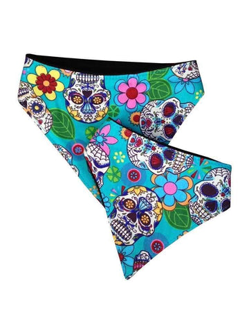 Multicoloured Day of the Dead doggie bandanas