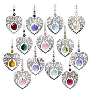 Host of heart shaped angel wing suncatchers, each with different coloured Swarovski crystal