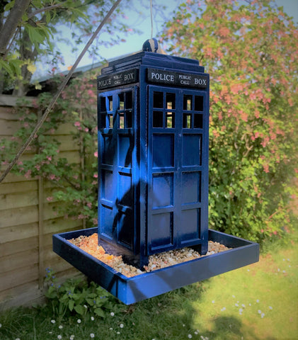 Dr Who inspired police box bird feeder