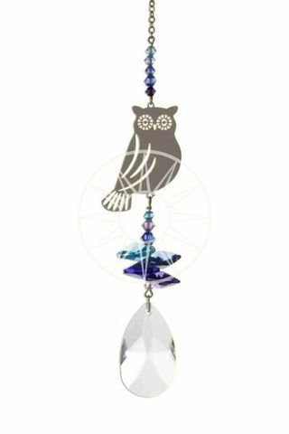 Metal and coloured glass bead Owl Suncatcher with Swarovski drop crystal