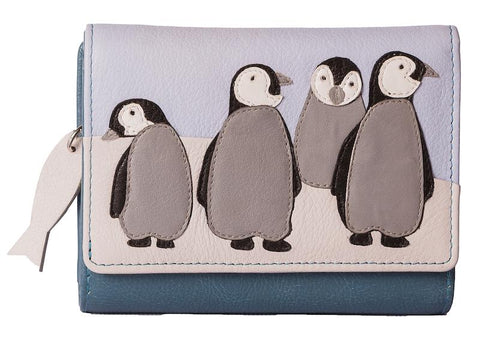 Grey and blue purse with a penguin family of four