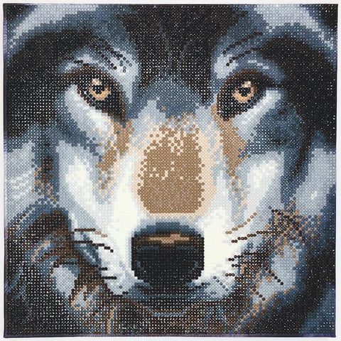 Crystal art picture of a wolf's face