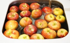 Tray of apples for bobbing