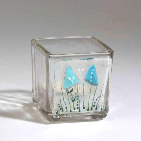Small square Fused Glass Tea Light with delicate blue and green decoration
