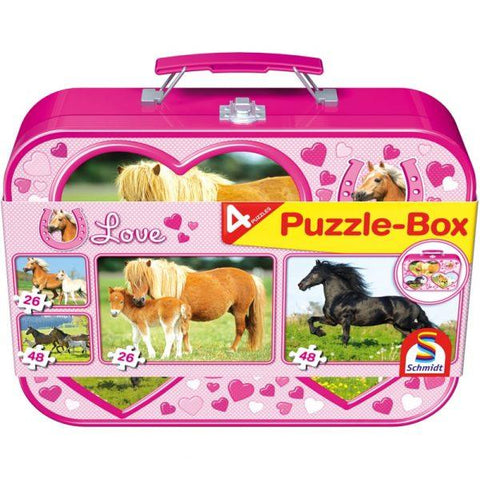 Pink suitcase style tin with pictures of horse jigsaw puzzles on the side