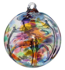 Multicoloured glass witch ball