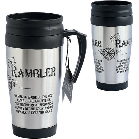 Stainless steel inscribed Rambler Travel Mug with black lid and handle