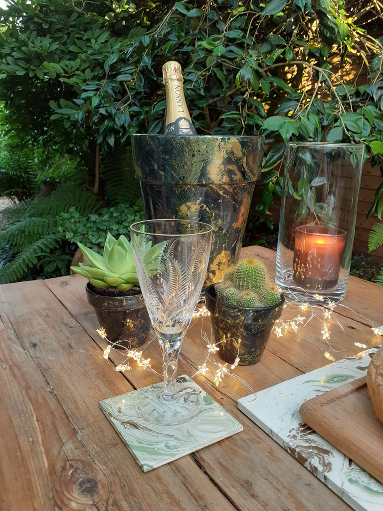 Decorated Plant Pots by Elemental Designware -  GREEN pots - Peach Perfect