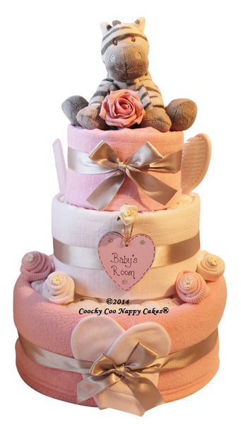 Large Zebra Nappy Cake Pink - Peach Perfect