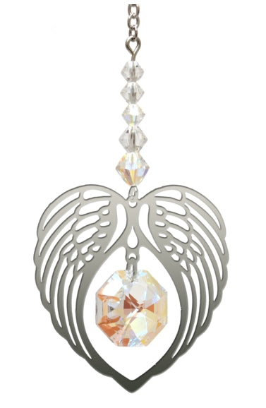 Swarovski® Crystal Angel Wing Hearts by Wild Things Gifts - Aurora Borealis