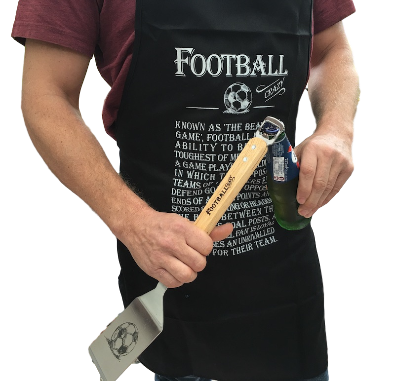 Man in Football Crazy Apron & spatula - Peach Perfect