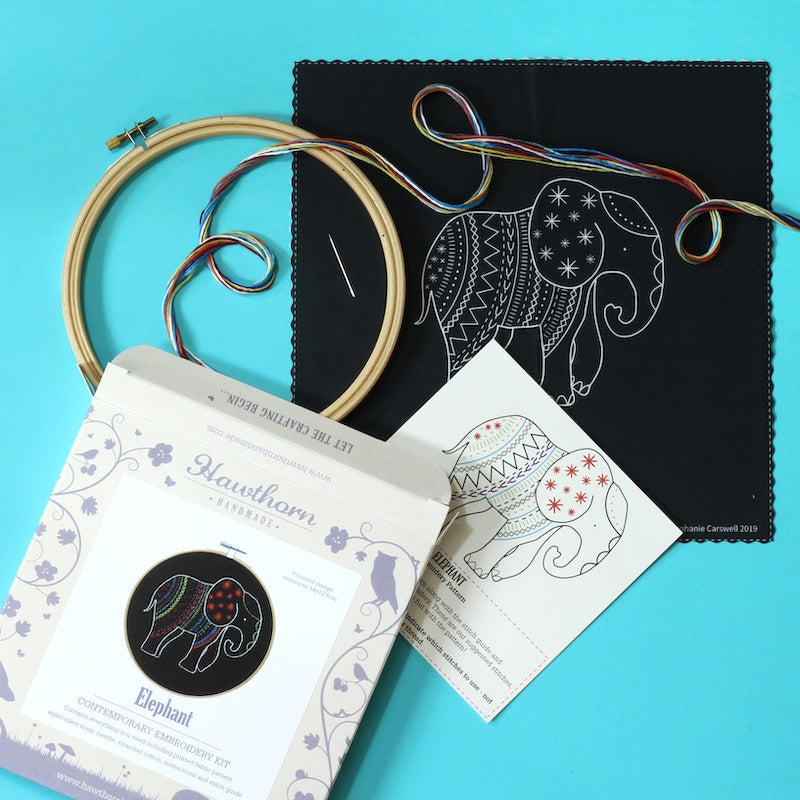 Black elephant embroidery kit contents - Peach Perfect