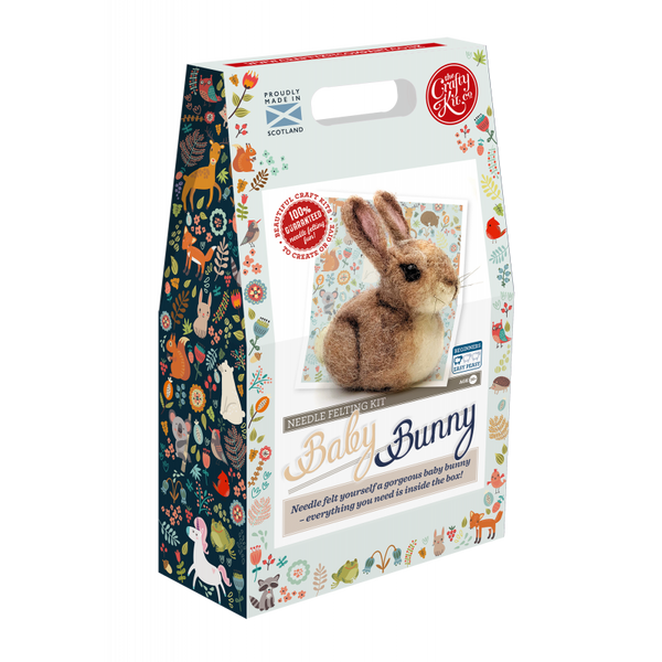 Baby bunny needle felting kit by Crafty Kit Company - Peach Perfect
