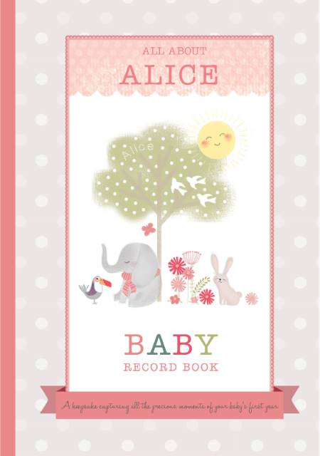 Personalised baby record book - licensed by Hache - girl - Peach Perfect