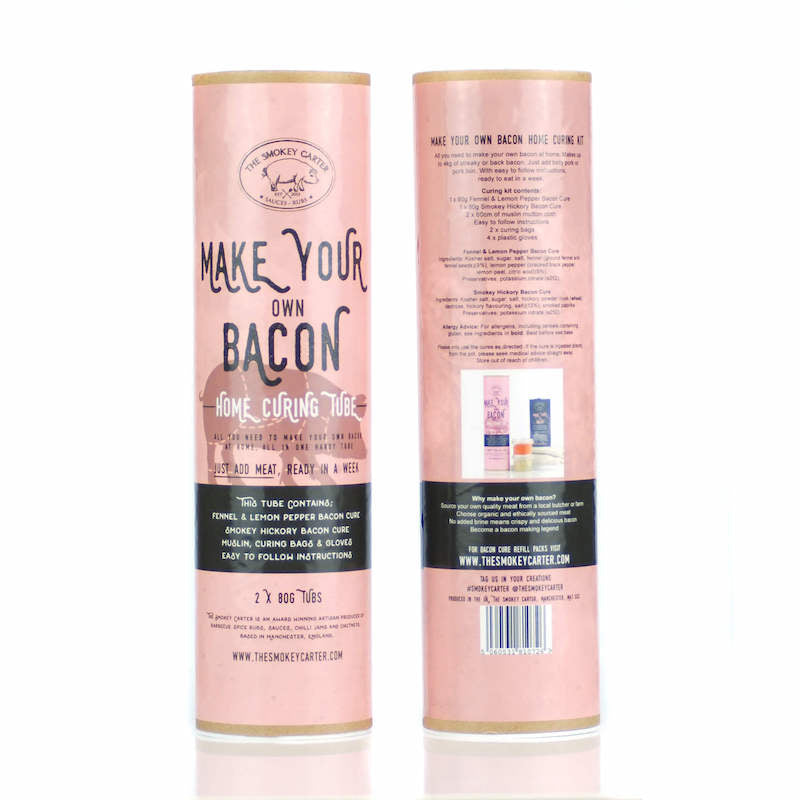 Make your own bacon kit by Smokey Carter - front & back of tubes - Peach Perfect