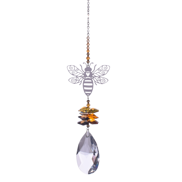 Bee suncatcer with Swarovski crystal - Peach Perfect