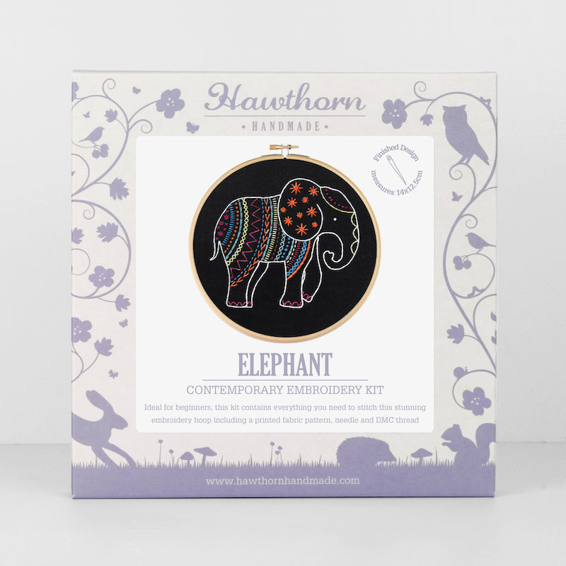 Black elephant embroidery kit by Hawthorn Handmade - Peach Perfect
