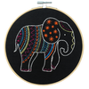 Black elephant embroidery kit made up with hoop - Peach Perfect