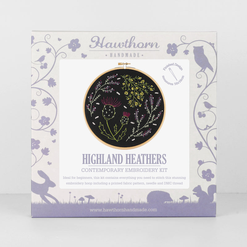 Highland Heather embroidery kit on black background by Hawthorn Handmade - Peach Perfect