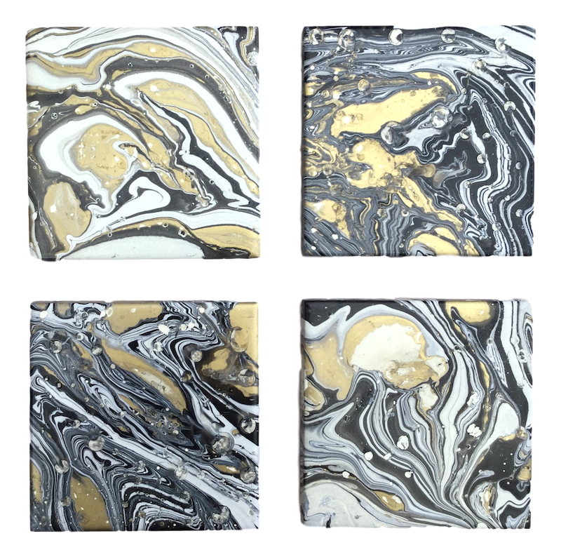 White, gold and black  hand decorated coasters by Elemental Designware - Peach Perfect