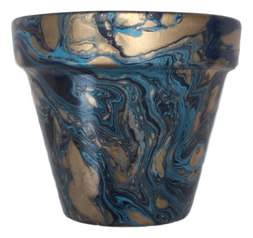 Decorated Cactus pot by Elemental Designware - Blue - Peach Perfect