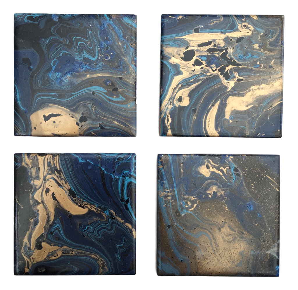 Blue, gold & black  hand decorated coasters by Elemental Designware - Peach Perfect