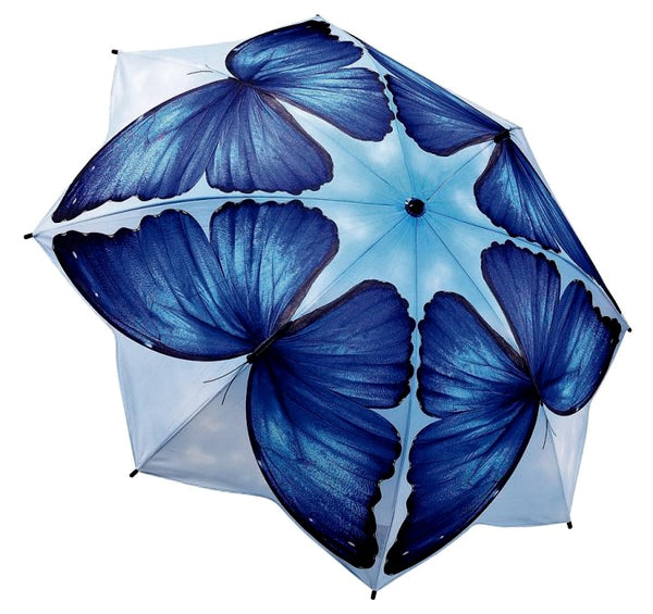 Blue morpho butterfly umbrella by Galleria - Peach Perfect