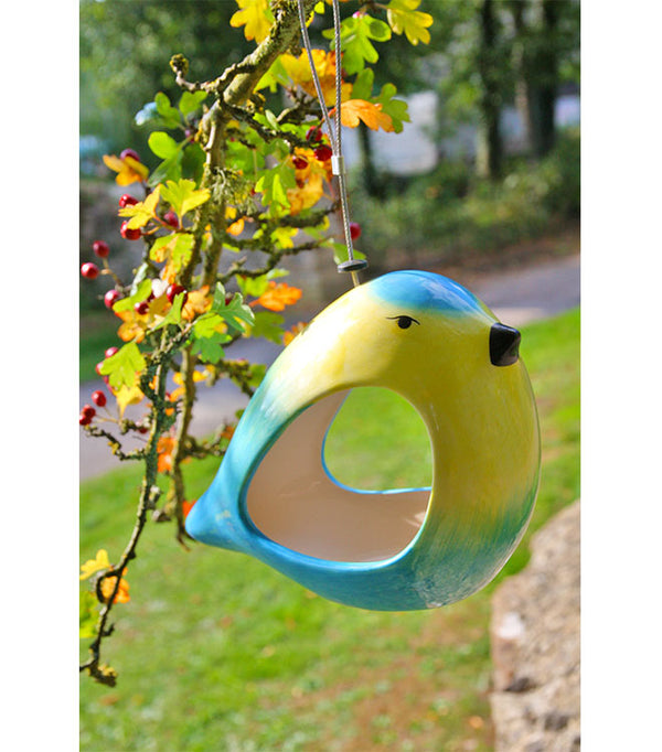 Novelty small bird feeder in the shape of a blue tit by Wildlife World - Peach Perfect