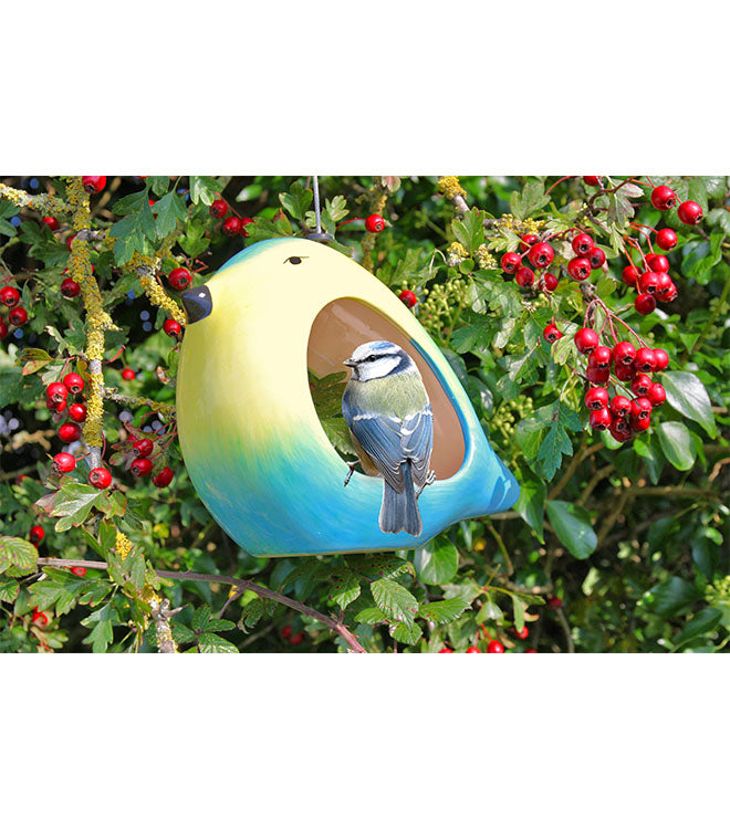 Ceramic blue tit feeder with blue tit - Peach Perfect