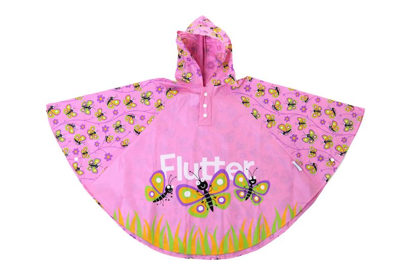 Kids rain poncho by Bugzz Kids Stuff -Butterfly- Peach Perfect