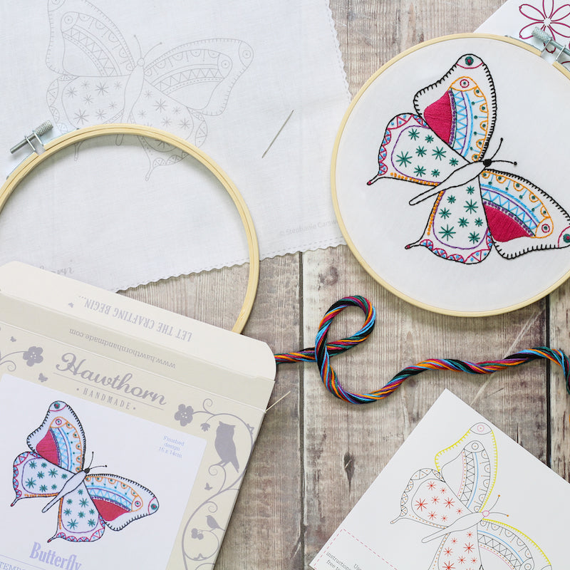 Butterfly Embroidery Kit contents - Peach Perfect