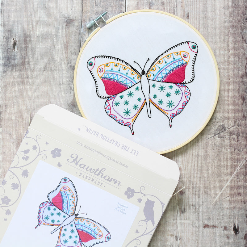 Butterfly Embroidery Kit finished article with box - Peach Perfect