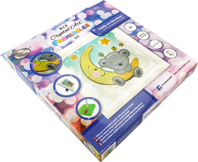 Crystal art kit for children - Teddy on the moon box - Peach Perfect