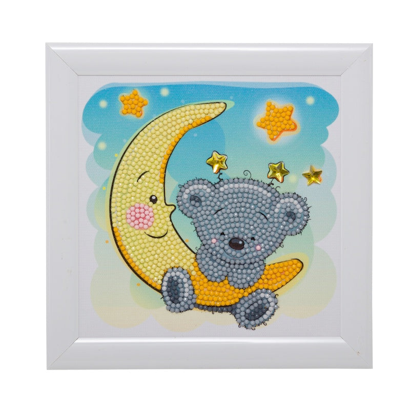 Crystal art kit for children - Teddy on the moon - Peach Perfect