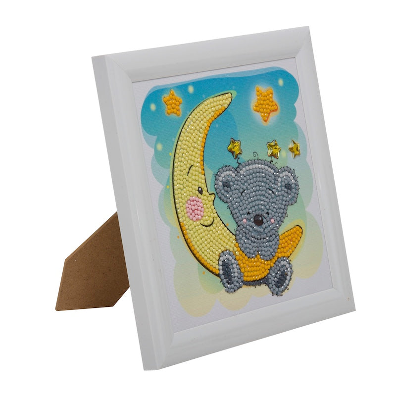 Crystal art kit for children - Teddy on the moon with frame - Peach Perfect