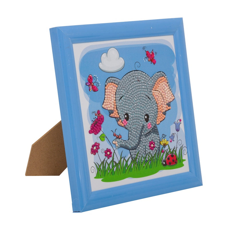 Kid's Crystal art kit - framed elephant picture - Peach Perfect