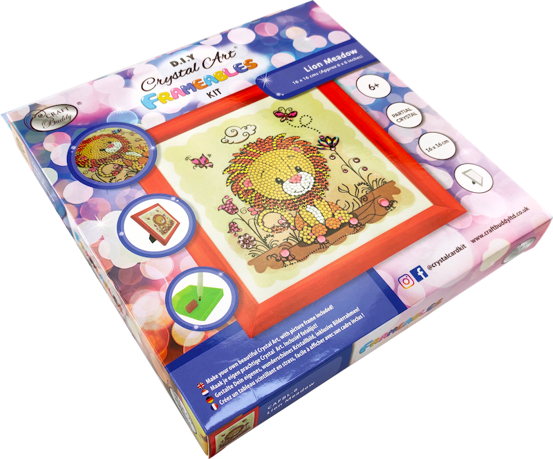 Boxed Crystal art  picture kit for children - Lion - Peach Perfect