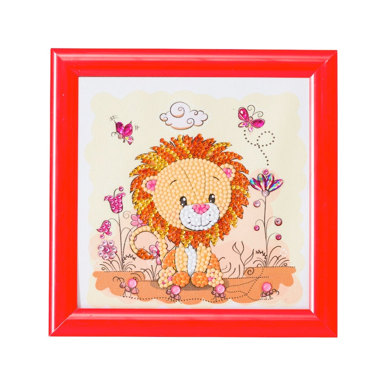 Crystal art kit for children - Lion - Peach Perfect