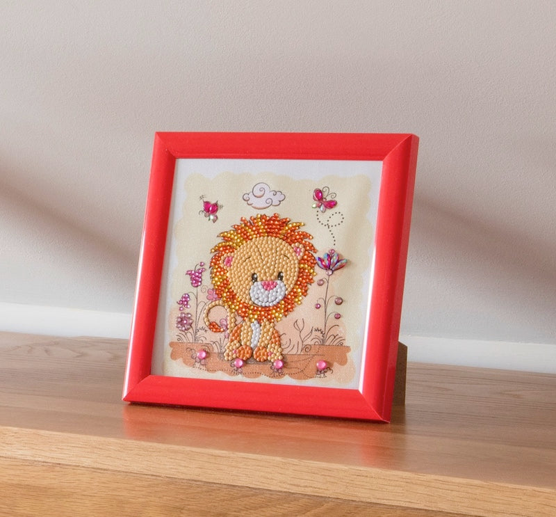 Lion Crystal art picture  kit for children - Lion - Peach Perfect
