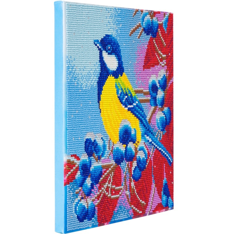 Crystal Art picture kit - Bird & Berries showing depth - Peach Perfect