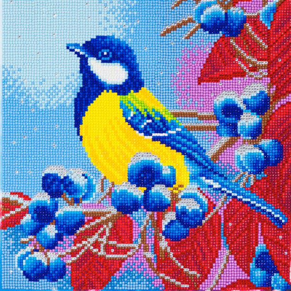 Crystal Art picture kit - Bird & Berries by Craft Buddy - Peach Perfect