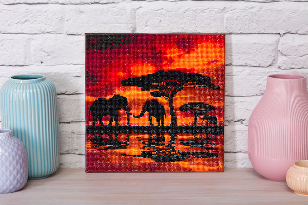 Crystal art picture on a shelf - elephants silhouette - Peach Perfect