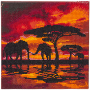 Crystal art picture kit - elephants silhouette - Peach Perfect