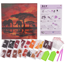 Crystal art picture kit contents - elephants silhouette - Peach Perfect